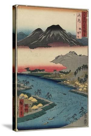 Otoko-Yama Mountain Seen from Hirakata, Kawachi Province, July 1853-Utagawa Hiroshige-Stretched Canvas Print