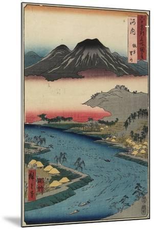 Otoko-Yama Mountain Seen from Hirakata, Kawachi Province, July 1853-Utagawa Hiroshige-Mounted Giclee Print