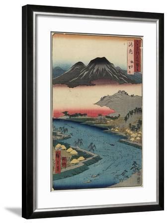 Otoko-Yama Mountain Seen from Hirakata, Kawachi Province, July 1853-Utagawa Hiroshige-Framed Giclee Print