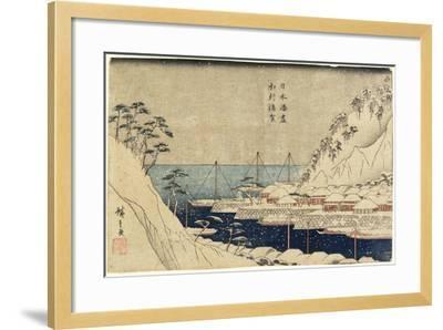 Lined Pine Trees at Uraga Port, C. 1840-1843-Utagawa Hiroshige-Framed Giclee Print