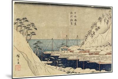 Lined Pine Trees at Uraga Port, C. 1840-1843-Utagawa Hiroshige-Mounted Giclee Print