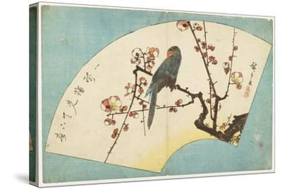 Parrot on a Flowering Plum, Mid 19th Century-Utagawa Hiroshige-Stretched Canvas Print