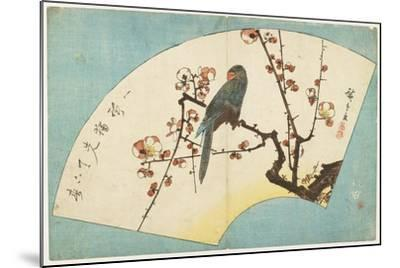 Parrot on a Flowering Plum, Mid 19th Century-Utagawa Hiroshige-Mounted Giclee Print