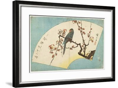 Parrot on a Flowering Plum, Mid 19th Century-Utagawa Hiroshige-Framed Giclee Print
