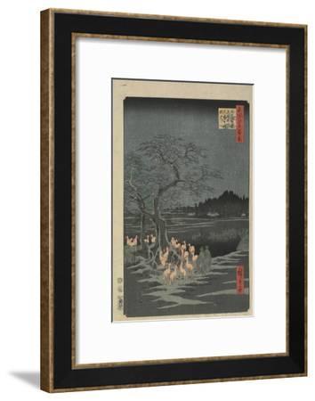 New Year's Eve Foxfires at the Hackberry Tree in O_Ji, 1857-Utagawa Hiroshige-Framed Giclee Print