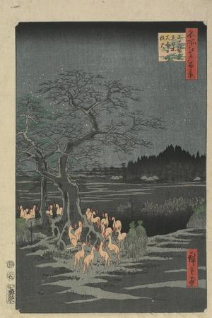 New Year's Eve Foxfires at the Hackberry Tree in O_Ji, 1857-Utagawa Hiroshige-Stretched Canvas Print
