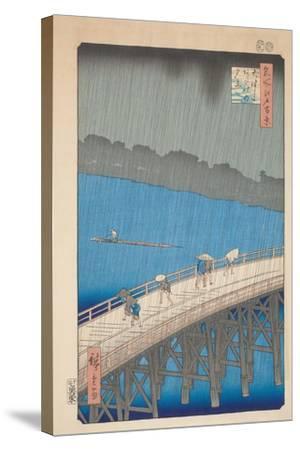 Shower over Ohashi Bridge, 1857-Utagawa Hiroshige-Stretched Canvas Print
