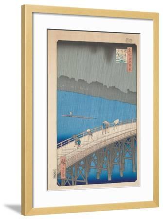 Shower over Ohashi Bridge, 1857-Utagawa Hiroshige-Framed Giclee Print
