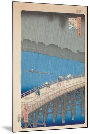 Shower over Ohashi Bridge, 1857-Utagawa Hiroshige-Mounted Giclee Print