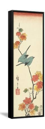 Japanese White-Eyes on a Maple Branch, 1854-Utagawa Hiroshige-Framed Stretched Canvas Print