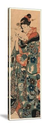 Fumi Yomu Musume-Utagawa Kuniyoshi-Stretched Canvas Print