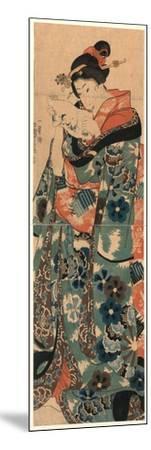 Fumi Yomu Musume-Utagawa Kuniyoshi-Mounted Giclee Print
