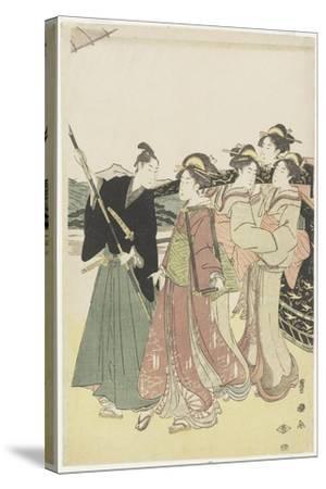 Oiran(High-Class Courtesan) Travelling as a Mitate of Daimyo Procession, 18th-19th Century-Utagawa Toyokuni-Stretched Canvas Print