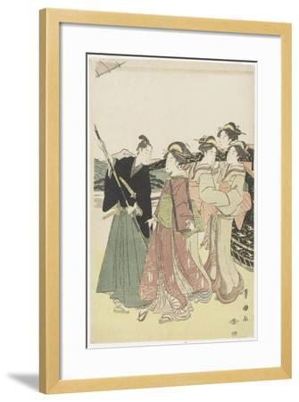 Oiran(High-Class Courtesan) Travelling as a Mitate of Daimyo Procession, 18th-19th Century-Utagawa Toyokuni-Framed Giclee Print