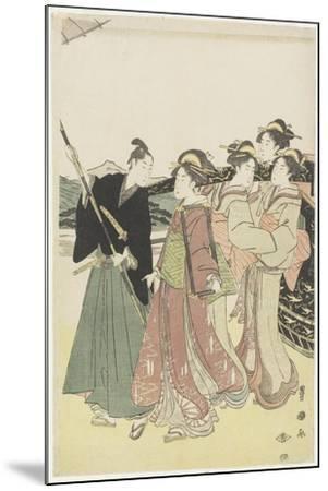 Oiran(High-Class Courtesan) Travelling as a Mitate of Daimyo Procession, 18th-19th Century-Utagawa Toyokuni-Mounted Giclee Print
