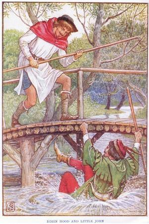 Robin Hood and Little John, C.1920-Walter Crane-Stretched Canvas Print