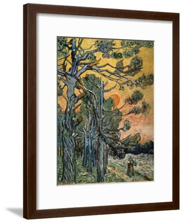 Pine Trees at Sunset, 1889-Vincent van Gogh-Framed Premium Giclee Print