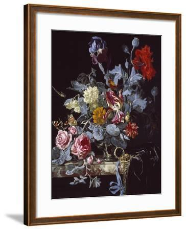 A Vase of Flowers with a Watch-Willem van Aelst-Framed Giclee Print