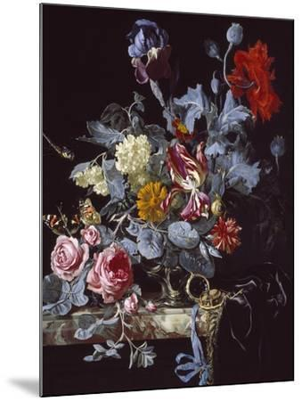 A Vase of Flowers with a Watch-Willem van Aelst-Mounted Giclee Print