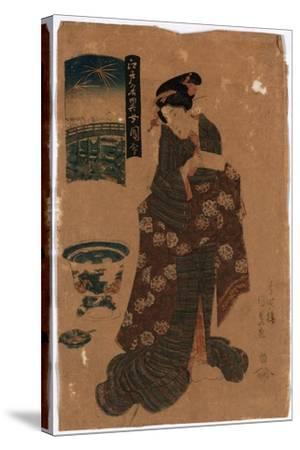Ryogoku No Hanabi-Utagawa Toyokuni-Stretched Canvas Print