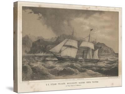 U.S. Steam Frigate Mississippi Passing Punta Tristao, 1855-Wilhelm Joseph Heine-Stretched Canvas Print