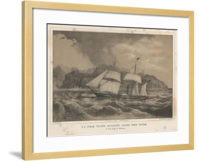 U.S. Steam Frigate Mississippi Passing Punta Tristao, 1855-Wilhelm Joseph Heine-Framed Giclee Print