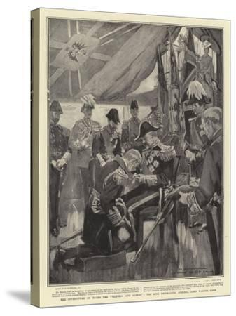 The Investiture on Board the Victoria and Albert, the King Decorating Admiral Lord Walter Kerr-William Hatherell-Stretched Canvas Print