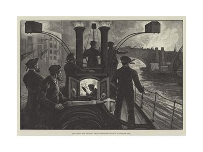 The London Fire Brigade, Steam Fire-Engine Going to a Riverside Fire-William Bazett Murray-Framed Giclee Print