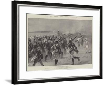 The Advance Towards Dongola, the 9th Soudanese Regiment Marching to Shellal to Embark for the Front-William Heysham Overend-Framed Giclee Print