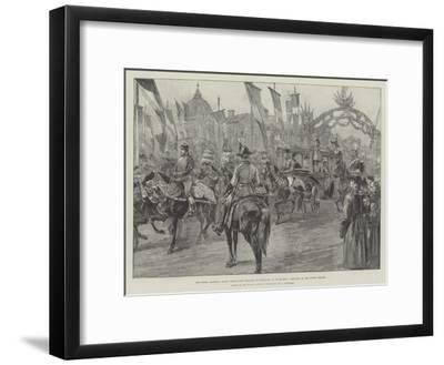 The Newly Married Crown Prince and Princess of Roumania at Bucharest, Arriving at the Royal Palace-William Heysham Overend-Framed Giclee Print