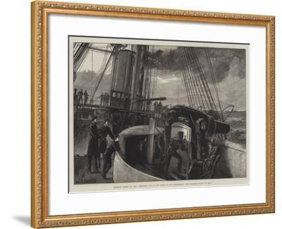 Barbette Turret of HMS Temeraire, One of the Fleet at the Dardanelles, Gun Practice, Ready to Fire!-William Heysham Overend-Framed Giclee Print