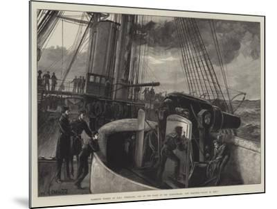 Barbette Turret of HMS Temeraire, One of the Fleet at the Dardanelles, Gun Practice, Ready to Fire!-William Heysham Overend-Mounted Giclee Print