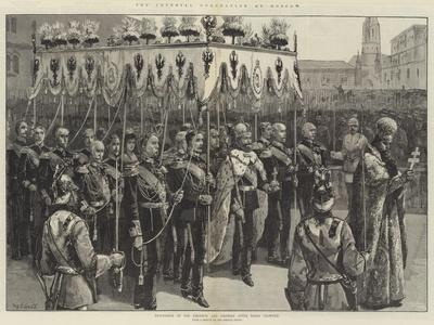 The Imperial Coronation at Moscow, Procession of the Emperor and Empress after Being Crowned-William Heysham Overend-Framed Giclee Print