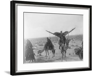 Ajman Bedouin on the Move (With Women's Litter, Hawdaj) Near Thaj, Saudi Arabia, 13th March 1911-William Henry Irvine Shakespear-Framed Photographic Print
