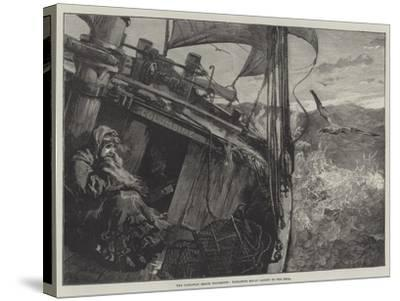 The Castaway Smack Columbine, Elizabeth Mouat Lashed to the Deck-William Heysham Overend-Stretched Canvas Print