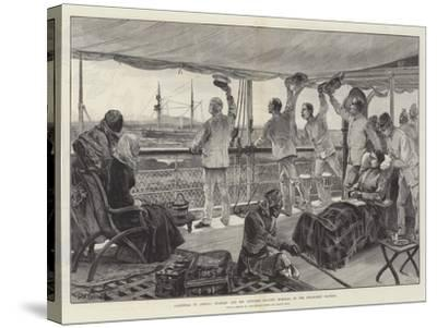 Farewell to Africa, Stanley and His Officers Leaving Mombasa in the Steam-Ship Katoria-William Heysham Overend-Stretched Canvas Print