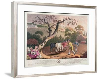View of Ploughing, Sowing Flax Seed and Harrowing, 1791-William Hincks-Framed Giclee Print