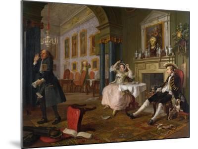 Marriage a La Mode: II - the Tete a Tete, C.1743-William Hogarth-Mounted Giclee Print