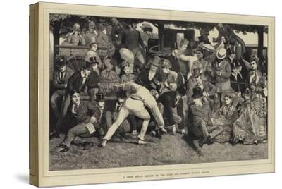 A Good Hit, a Sketch at the Eton and Harrow Cricket Match-William III Bromley-Stretched Canvas Print
