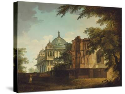 View of a Mosque at Mounheer (Maner)-William Hodges-Stretched Canvas Print
