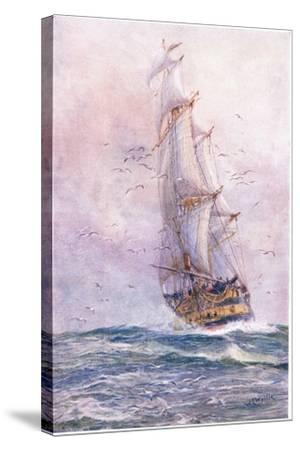 The 'Foudroyant', One of Nelson's Old Ships, 1915-William Lionel Wyllie-Stretched Canvas Print