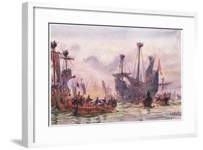 Richard I in Action with the Saracen Ship, 1915-William Lionel Wyllie-Framed Giclee Print