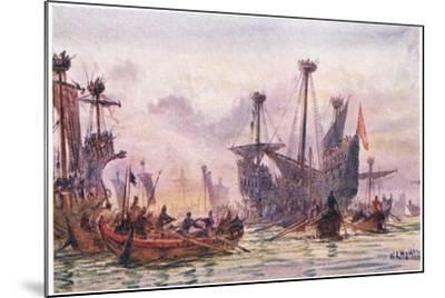 Richard I in Action with the Saracen Ship, 1915-William Lionel Wyllie-Mounted Giclee Print