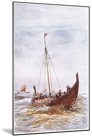 Warship at the Time of King Alfred, 1915-William Lionel Wyllie-Mounted Giclee Print
