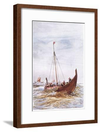Warship at the Time of King Alfred, 1915-William Lionel Wyllie-Framed Giclee Print