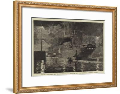 Dock-Lighting by Electricity, a Sketch at the Royal Albert Docks-William Lionel Wyllie-Framed Giclee Print
