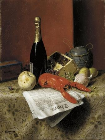 Still Life with Lobster, Fruit, Champagne and Newspaper, 1882-William Michael Harnett-Framed Giclee Print
