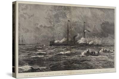The Naval Review and Sham Fight at Portsmouth, Torpedo Boats Attacking the Colossus-William Lionel Wyllie-Stretched Canvas Print