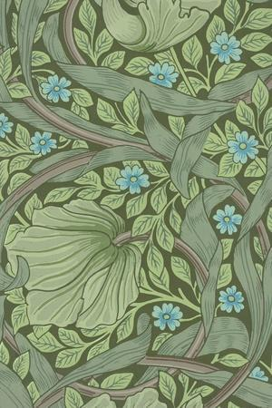 William Morris Wallpaper Sample with Forget-Me-Nots, C.1870-William Morris-Stretched Canvas Print