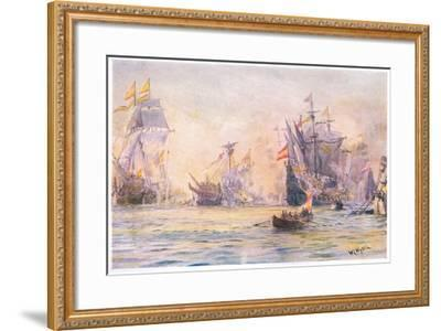 The End of the 'Gentleman Adventurer-The Revenge Captured by Spaniards 1591, 1915-William Lionel Wyllie-Framed Giclee Print